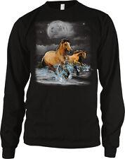 Horses Wild Ride Brown Beach Water Running Moon Clouds Free Splash Men's Thermal
