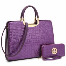 Women Handbag Croco Patent Leather Briefcase Satchel Purse Laptop Shoulder Bag