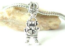 Cute Silver Tone Love Robot Valentine Dangle Slide Charm fits European Bracelets