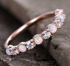 Rose Gold Finger Ringe 6 Weiß Feuer Opal und 5 CZ  Kristall (20.1)