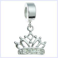 STR Silver Princess Crown Royal Crystal Dangle Bead f/ European Charm Bracelet