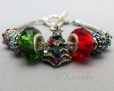 Christmas Tree European Starter Charm Bracelet - Red Green Turquoise Blue Beads