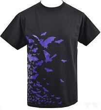 Para Hombre Camiseta Rebaño De Murciélagos Vampiro Gótico Drácula Horror Halloween Púrpura S - 5XL