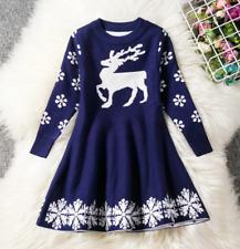 Christmas Children Girls Long Sleeve Dress Holiday Princess Party Dress ZG8