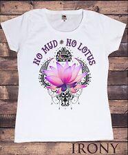 """TS906 Women's White T-Shirt """"No Mud, No Lotus"""" Yoga Flowery Lotus Eye Print"""