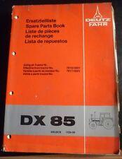 Deutz Fahr Schlepper DX 85 Ersatzteilliste 1978