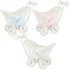 Mini Favour Size Prams with Ribbon - Tiny Hamper Basket Shower Gift Keepsake