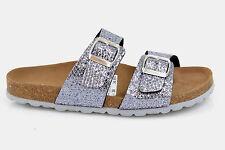 Damen Bio Tieffußbett Pantoletten Sandalen Kork Comfort Luxus Fussbett silber