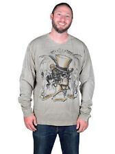 TWELVE SYMBOLS Men's Squire Skull Long Sleeve Studded T-shirt Brown Sand