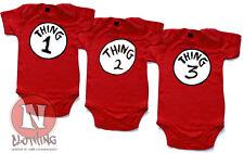 Naughtees Clothing Body Cosa One Dos Tres Rojo Algodón Babysuit para Trillizos