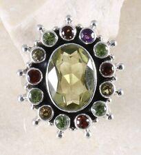 CITRINE AMETHYST PERIDOT & .925 Silver RING Size 8.5