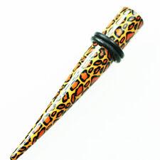 Leoparden Muster Dehnstab Hole Expander Ohr PIERCING Acryl Leo Rockabilly 3-10mm