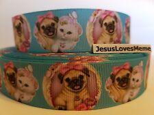 "Grosgrain Ribbon Adorable Pug Dog Puppy White Kitten Cat Butterfly Hair Bow, 1"""