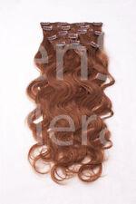 #8 goldbraun Clip in GEWELLT Hair Extensions 100% Remy Echthaar 7 teiliges Set