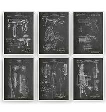 Gun Patent Prints - Set Of 6 - Poster Wall Art Military Decor Gift - Unframed