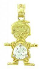 Fine Yellow Gold April Birthstone Crystal Clear Round CZ Baby Boy Charm Pendant