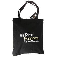 Borsa Shopper Grande HAPPINESS FOR SMEMORANDA di Tessuto Nero in 5 Varianti