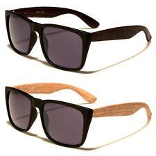 Large Vintage Shades Faux Wood Arms Women Men Fashion Sunglasses