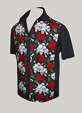 Para Hombre Skull Rose Tattoo Rockabilly 50 salón-comedor camisa gót Psychobilly Retro