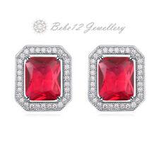 Crystal Cushion Cut Stud Earring/Simulated Ruby/RGE567