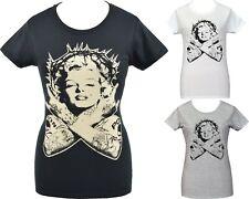 Marilyn Monroe Womens RETRO T-Shirt Tattoo Thorn Crown PIN-UP Vintage S-2XL