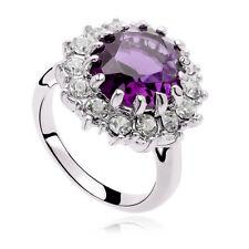 Brillante Anello zircone da Donna,cristallo,strass,nero,viola,bianco,size17 - 20