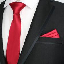 Factory Solid 7CM Silk mens tie handkerchief set Sea Red Wedding Party Ties