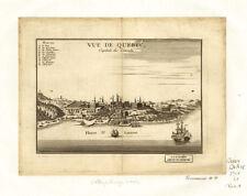 Vue de Quebec, Capital of Canada Vintage Map with Framing Option
