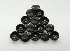 40/80/200 Stück Knöpfe schwarz Kunststoff 11 mm 2 Loch (016)