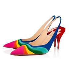 Christian Louboutin DEGRADAMA 80 Rainbow Suede Slingback Sandal Heels Shoes $895