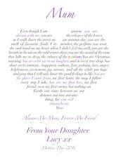 Mum, Nan, Grandma, Step-Mum love heart personalised poem print birthday Gift