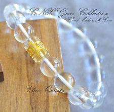 Gemstone Natural Crystal Clear Quartz Mantra Bead Om Shanti Buddhism Bracelet