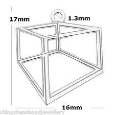 Sterling Silver 17mm Hexagon Charm Pendant PK1 PK5