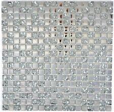 Mosaik Fliese Transluzent Glasmosaik Crystal EP Silber Glas gefrostet 92-0218