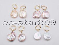 D0308 Big 22MM Coin Keshi Reborn Pearl Dangle Earring