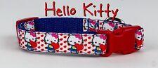 "Hello Kitty Dog collar handmade adjustable buckle collar 5/8""wide leash fabric"