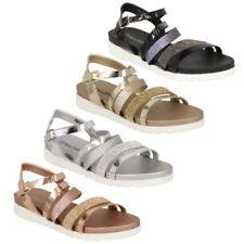 donna sandali stile gladiatore Womens flat open toe scarpe con fibbia STRASS