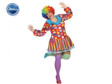 Costume da Pagliaccio donna Clown abito multicolore del circo taglia XXL Atosa
