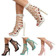 Mujer Damas Tacón Alto Con Cordones Recortar Sandalias Zapatos Talla 3-8 correas de tobillo