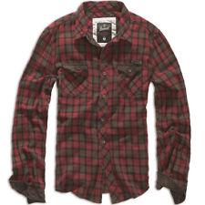 Brandit Duncan Classic Vintage Check Flannel Mens Long Sleeve Shirt Red Brown