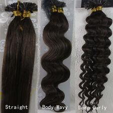 "AAA+ 18""-32"" Nail U Tip Human Hair Extensions Straight Wavy Curly #4 Dark Brown"