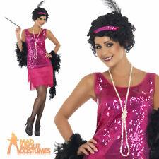Adult Funtime Flapper Costume Hot Pink 20s Charlston Fringe Fancy Dress UK 8-22