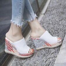 Women Wedge High Heel Slippers Platform Casual Woven Summer Beach Clog Sandals