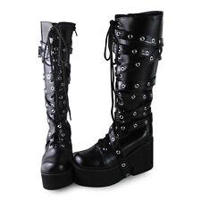 schwarz punk gothic lolita stiefel boots Shoes Schuhe rock Plateau cool neu emo