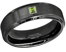 Gunmetal Tungsten Wedding Band #806 0.05ctw Princess Cut Peridot Ring, 6mm