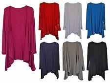 New Women Ladies Uneven Hem Open Long Sleeve Waterfall Cardigan Plus Size