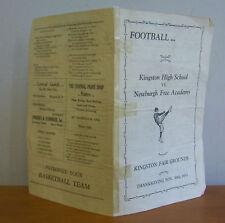 1933 KINGSTON NY vs NEWBURGH H S Football Program
