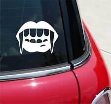 VAMPIRE FANGS GIRL WOMAN HALLOWEEN GRAPHIC DECAL STICKER ART CAR WALL