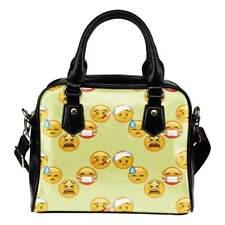 Fun Emojis Sick Theme Women Fashion Shoulder Handbag Black Vegan Faux Leather