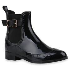 Modische Damen Gummistiefel Regenschuhe Gr. 36-41 Chelsea Boots 890371 Schuhe